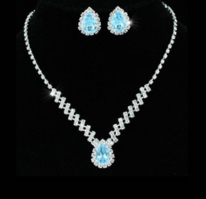 $29.00 for an 18k Plated White Gold Prestige Necklace and Earring Set with Swarovski Elements...