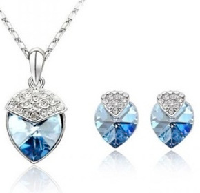 $22.00 for an 18k White Gold Swarovski Elements Heart Necklace and Earring Set from Style &...
