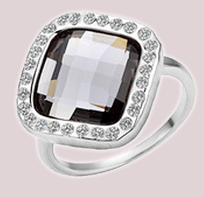 $27.00 for an 18k Plated Platinum Ring with a Black Swarovski Elements Crystal from Allure...